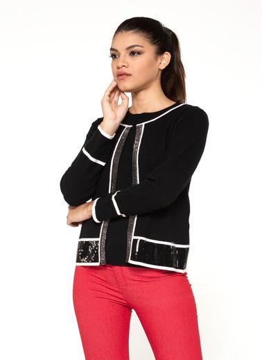 Optique Knitwear Düz Bisiklet Yaka Uzun Kol Triko Hırka Siyah